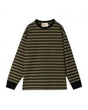 【MEN'S】CREWNECK LONG SLEEVE T-SHIRTS 詳細画像 カーキ × ブラック 1