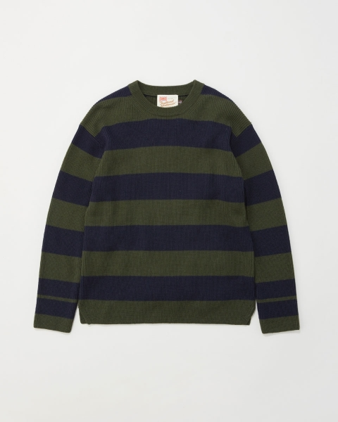 【MEN'S】RIB STITCH BORDER COTTON KNIT