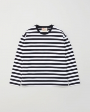【MEN'S】LONG SLEEVE COTTON CREWNECK T-SHIRTS 詳細画像 ホワイト×ブラック 1