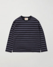 【MEN'S】LONG SLEEVE COTTON CREWNECK T-SHIRTS 詳細画像 グレー×ブラック 1