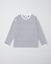 【MEN'S】LONG SLEEVE CREW NECK RIB T-SHIRTS      詳細画像 ホワイト×ネイビー 1