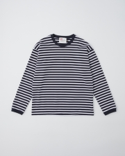 【MEN'S】LONG SLEEVE CREW NECK RIB T-SHIRTS      詳細画像 ネイビー×ホワイト 1