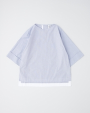 OVER SIZE BOAT NECK HALF SLEEVE TOP      詳細画像 ブルーファインストライプ 1