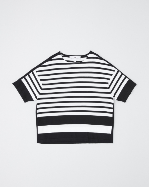 HIGH GAUGE BORDER KNIT T-SHIRTS