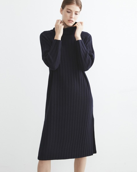 RIB TURTLE NECK SLIT ONE-PIECE