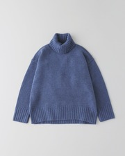 PLAIN STITCH TURTLE NECK PULL OVER 3G 詳細画像 ブルーグレー 11
