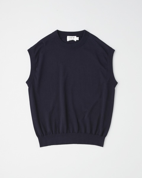 COTTON CREW KNIT VEST
