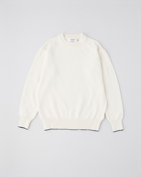 COTTON NYLON CREW KNIT PULL OVER