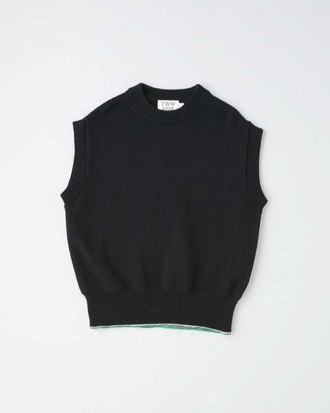COTTON NYLON CREW KNIT V-NECK