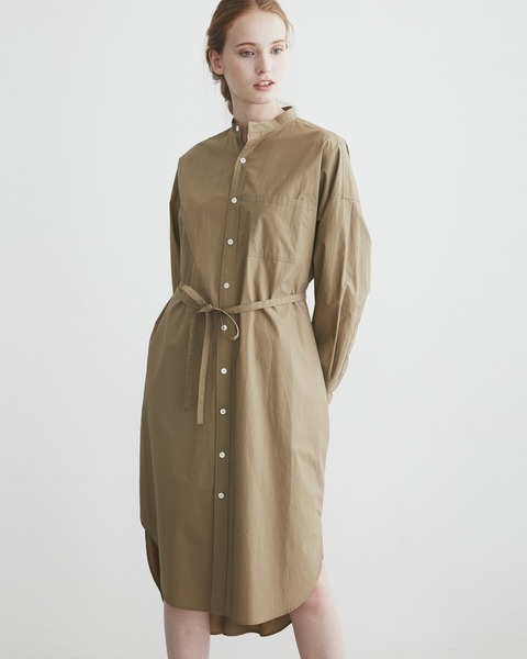 NO COLLAR LONG SLEEVE ONE-PIECE