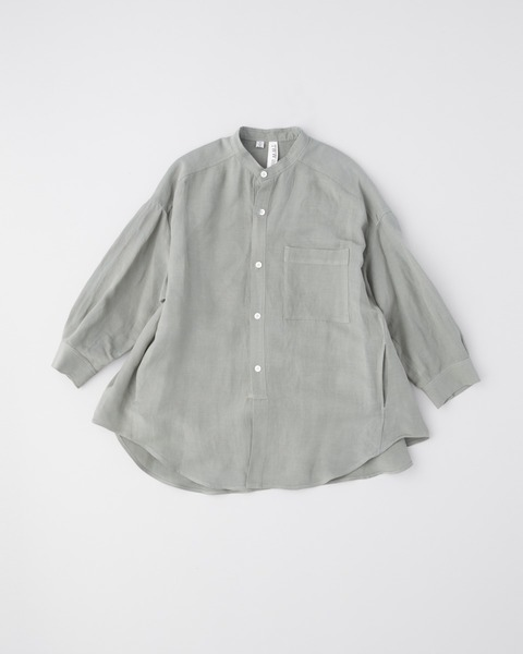 BACK GATHERED NO COLLAR SHIRT