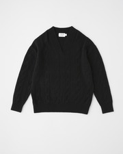 CABLE V NECK PULL OVER 詳細画像 ブラック 11