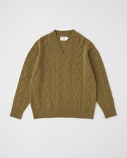 CABLE V NECK PULL OVER 詳細画像 カーキ 11