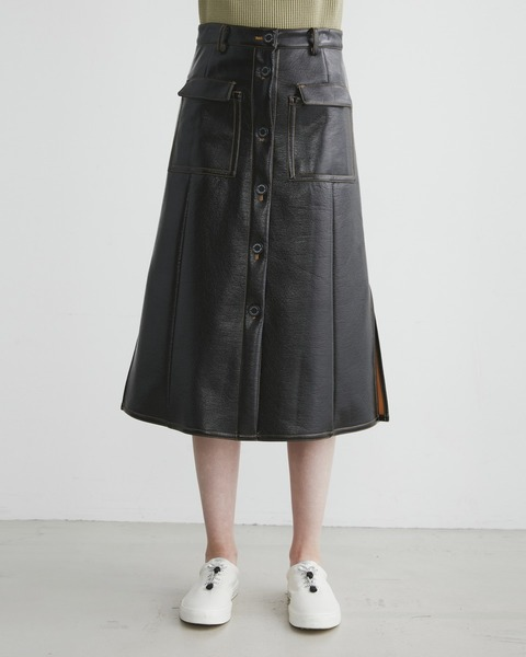 FRONT BUTTON PATCH POCKET SKIRT