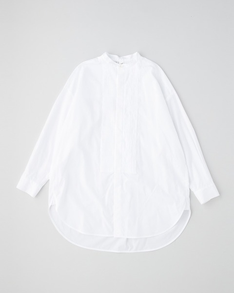 BIG TUCK UP NO COLLAR PIN TUCK SHIRT