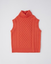 CABLE TURTLE NECK VEST 詳細画像 オレンジレッド 11