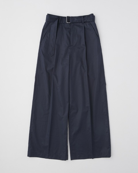 WAIST BELT WIDE PANTS SINGLE PLEATS